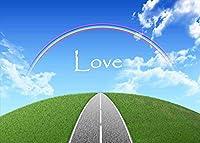 【イラスト風景ポストカード】「Love」虹へと続く道 青空と緑のある絵葉書・はがき ハガキ