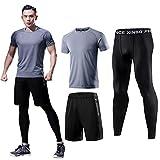Fan Hua メンズ コンプレッションウェア ランニングウェア トレーニングウェア スポーツウェア 3点セット5点セット 吸汗速乾 ジム ウェア 半袖シャツ ハーフパンツ