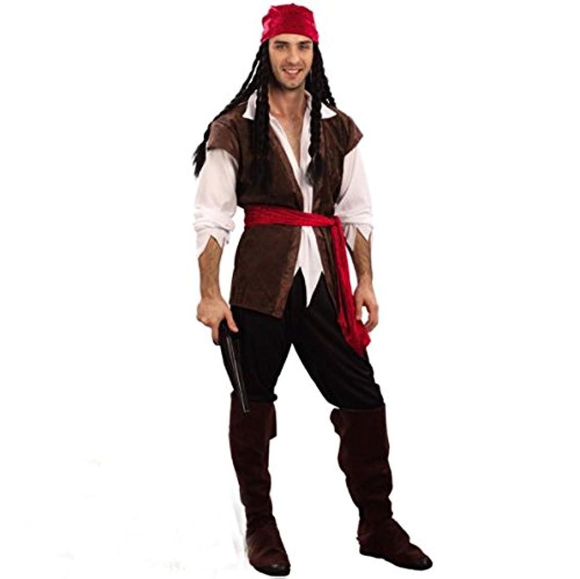 居心地の良い非アクティブメディックQcos(キューコス) ハロウィン カリブ 海賊 コスプレ 衣装 パイレーツ オブ カリビアン メンズ (Qcosオリジナルキズフェイクシール付き)