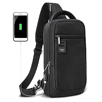 ボディバッグ メンズ USBポート搭載 防水ワンショルダーバッグ 9.7インチipad収納可能な大容量ショルダーバッグ アウトドア旅行用 Luuhann (ブラックLサイズ)