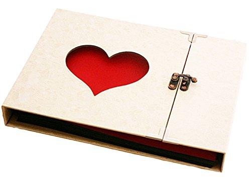 アルバム 手作り プレゼント フォトアルバム セット 結婚 送別 寄せ書き 生写真 フォト 記念日 素材 (ハート アイボリー)