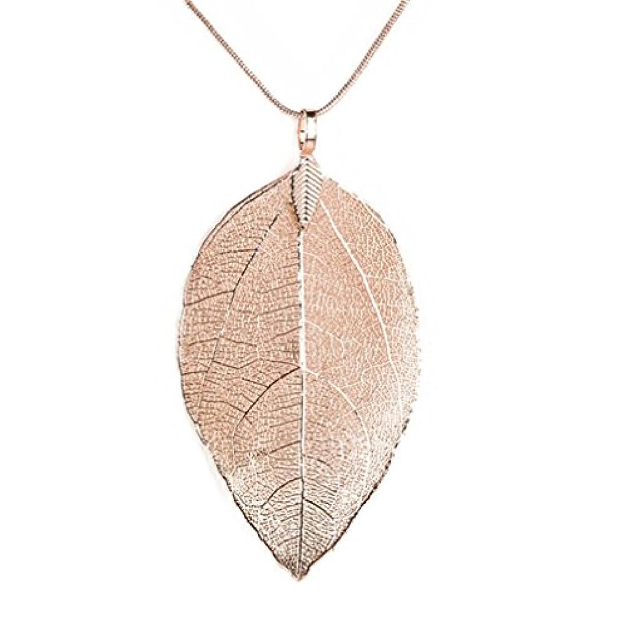 泣き叫ぶ襲撃アクションtravet自然Leaves Gildedロングネックレスシンプルな葉セーターチェーン As Description 15