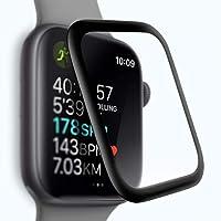 Apple Watch Series 4 44mm ガラスフィルム 3Dガラス液晶全面保護フィルム 3D曲面デザイン 日本旭硝子素材採用 高透過率 薄型 硬度9H 飛散防止処理 3Dラウンドエッジ加工 自動吸着 アップル ウォッチ シリーズ 4 44mm 液晶保護フィルム(ブラック)
