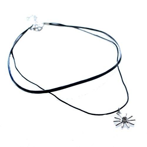 [해외]KOZEEY 패션 보석 목걸이 블랙 왁스 코드 초커 실버 해바라기 펜던트/KOZEEY Fashion Jewelry Necklace Black Wax Code Choker Silver Sunflower Pendant