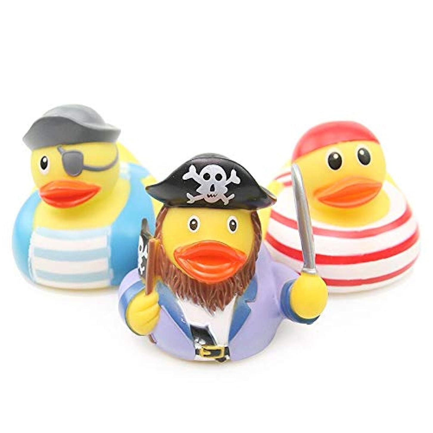 興奮する区別する冷凍庫PPOO 3 個ゴムアヒルのベビーシャワーバスルーム水泳プール水泳のおもちゃ海賊モデリングアヒルお風呂の玩具