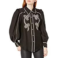 C/MEO COLLECTIVE Women's Nearby Western Embroidered Button Down Blouse