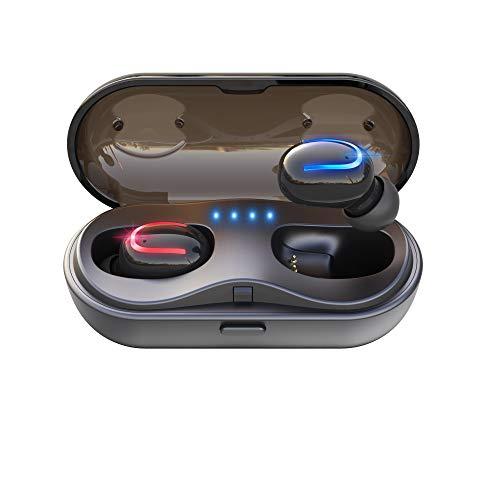 [2019最新版 Bluetooth5.0 イヤホン] Bluetooth イヤホン 5.0 120時間超長待機 最新Bluetooth5.0+EDR搭載 Hi-Fi 高音質 完全ワイヤレス イヤホン 自動電源オン・オフ Bluetooth イヤホン 自動ペアリング ブルートゥース イヤホン Bluetooth イヤホン IPX5防水 Siri対応 日本語音声提示 AAC対応 左右分離型 充電ケース付き 片耳両耳とも対応iPhone/ipad/Android