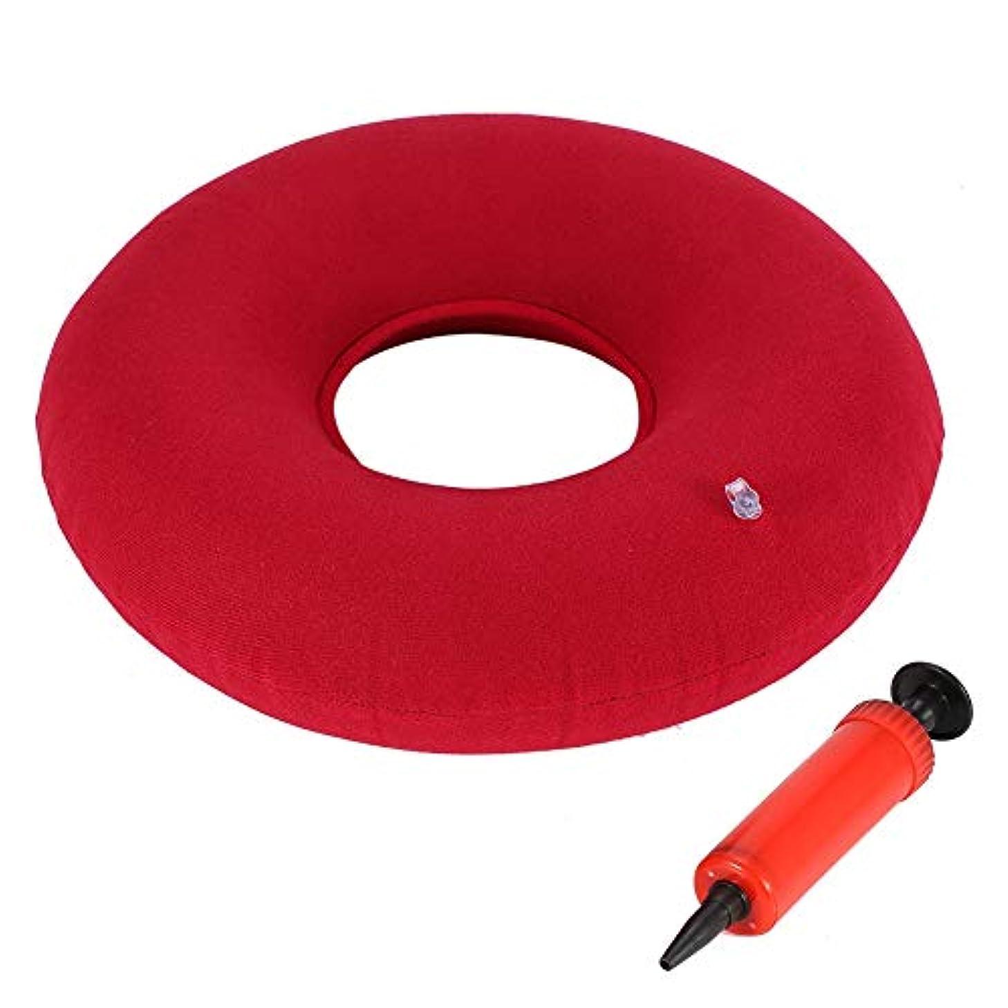 欺く評価する添付シートクッション、3色新しいインフレータブルラウンドチェアパッドヒップサポート痔シートクッション付きポンプ(赤)