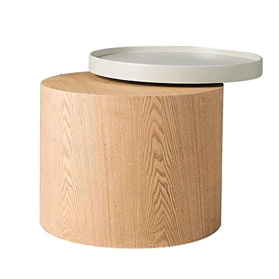 HUO,テーブル 現代的なラウンドコーヒーテーブル木製のサイドテーブルリビングルームクリエイティブ回転可能なトレイ小さなラウンドテーブル 多機能 (色 : A)