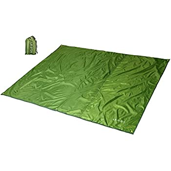 KUMFI 折りたたみ レジャーシート 軽量 防水 薄型 テントシート アウトドア グランドシート ピクニックマット 日よけ キャンプ フェス タープ 収納袋付き (アーミーグリーン, M(180x220cm))