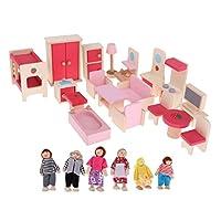 B Blesiya ドール人形 家具玩具 ドールハウス飾り 子ども ふり遊びおもちゃ 木製 3色選ぶ - 家具+6人形セット