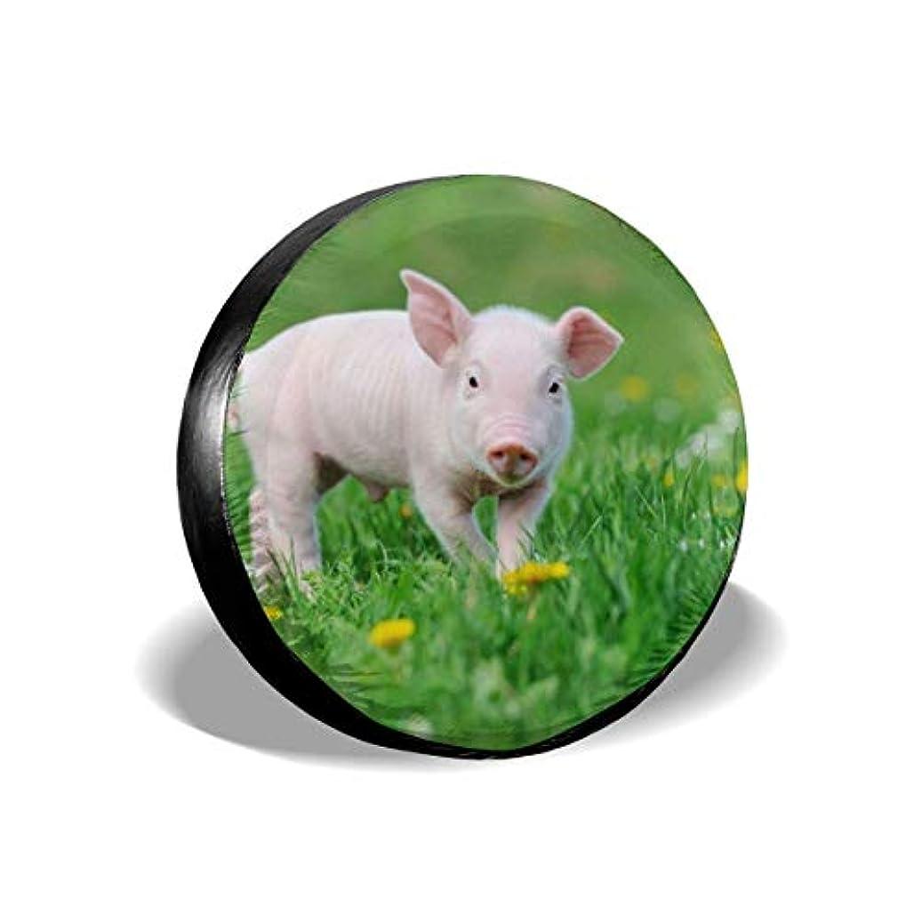 収縮空気地下室おかしい豚春緑草個性スタイリッシュなユニバーサルスペアタイヤカバー(14、15、16、17インチ)