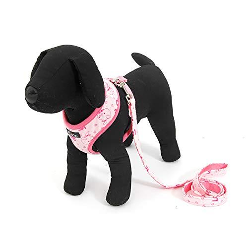 【Jinchuan】犬用ハーネス&リーダーセット (S, ピンク)