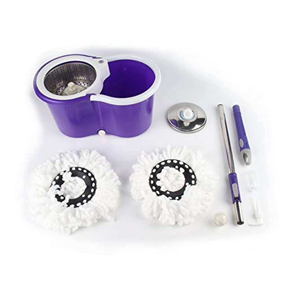 クラウド香ばしい義務Saikogoods 1PC 360度回転 マイクロファイバーモップヘッド キッチン浴室クリーニング マジックモップ ヘッド交換をスピニング マジックモップ 紫の
