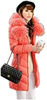 QUEENSHINY ファッション レディース 100%ラクーンファー 90%ホワイト アヒル羽毛 ダウンジャケット
