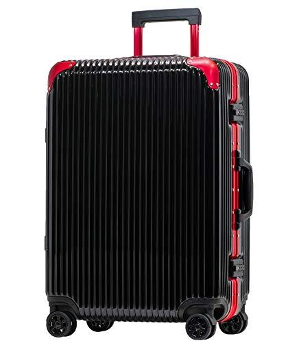 Proevo スーツケース アルミフレーム 機内持込〜大型 軽量 超消音 ダブルキャスター 8輪 TSA キャリーケース キャリーバッグ (M(3〜5泊)-50L, ブラック/レッド)