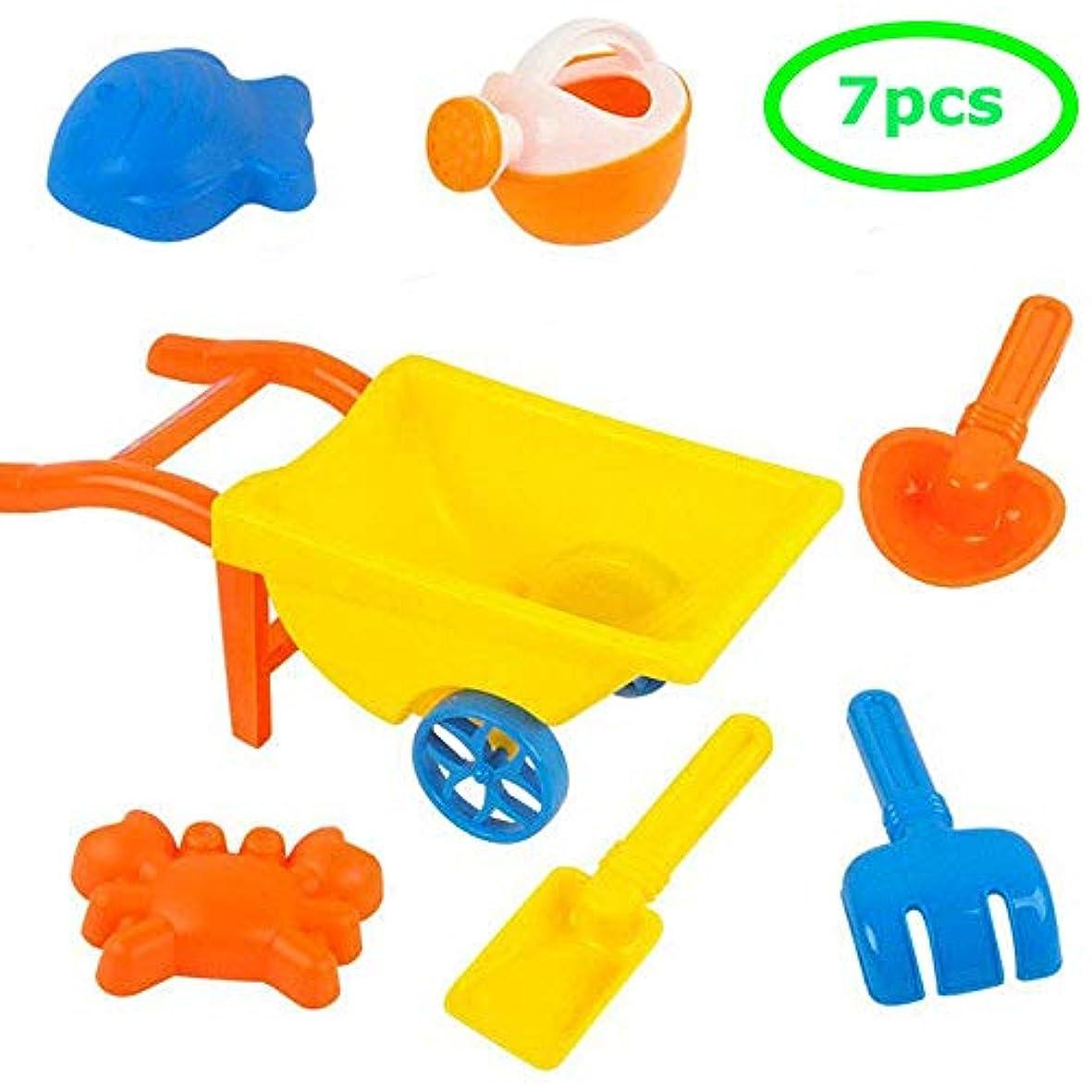 うなり声眼各新しいビーチ砂のおもちゃ7ピースビーチトロリーレーキ缶子供ビーチおもちゃプラスチック屋外おもちゃ砂のおもちゃ
