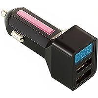 LED USB カーチャージャー 車載充電器 USB充電器 2ポートタイプ 3.1A 急速充電 スマホ タブレット シガーソケットチャージャーAndroid iPhone用 (ブラック-ピンク)