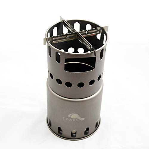 TOAKS(トークス)チタン製ストーブ 焚き火台 焚火台 バーベキューコンロ キャンプ 折りたたみ式 コンパクト 軽量 収納袋付き ハイキング (L(ゴトク2枚))