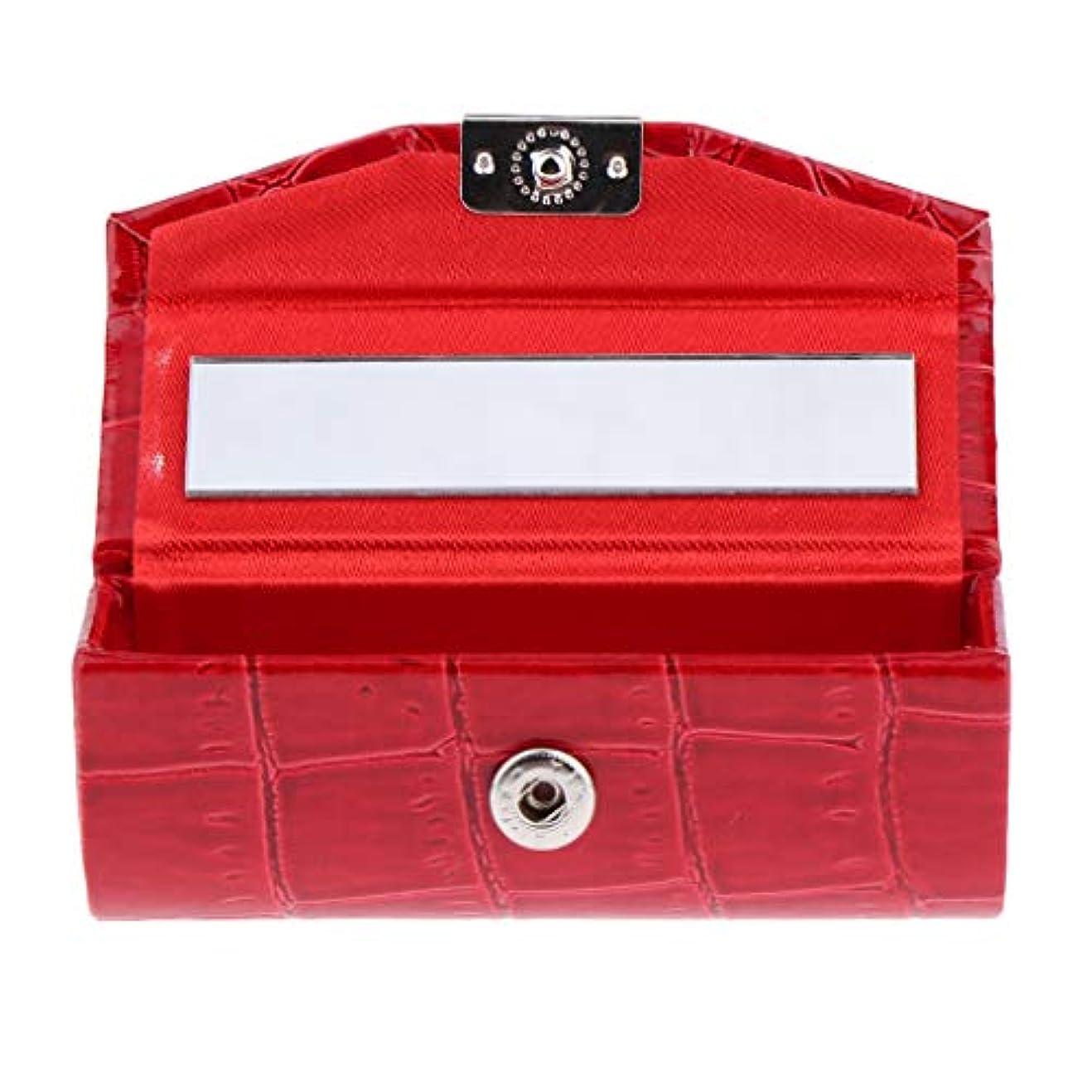ダイジェスト登録ギャング全10色 化粧ポーチ 口紅ホルダー リネンカバー リップスティック リップグロス 収納ケース - レッド