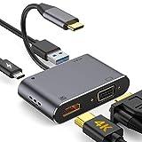 kutolo USB Type c ハブ VGA HDMI アダプタ 4-in-1 変換 アダプタ UHD コンバータ Nintendo Switch/MacBook Pro/Air iPad Pro 2018//Dell XPS/Samsung ニンテンドースイッチ/USB C デバイス対応 (4-in-1)