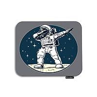 スペースマウスパッド宇宙の惑星ムーンで面白い軽くたたく宇宙飛行士水玉ゲーミングマウスパッドコンピューターデスクラップトップオフィスワーク用ゴム製大型マウスパッド7.9x9.5インチ