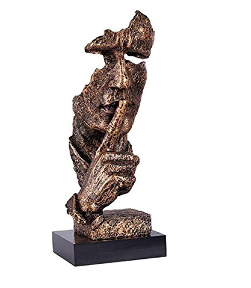 樹脂抽象彫刻沈黙はゴールデン男性像キャラクター工芸品装飾用オフィスリビングルームアートワーク,Brass