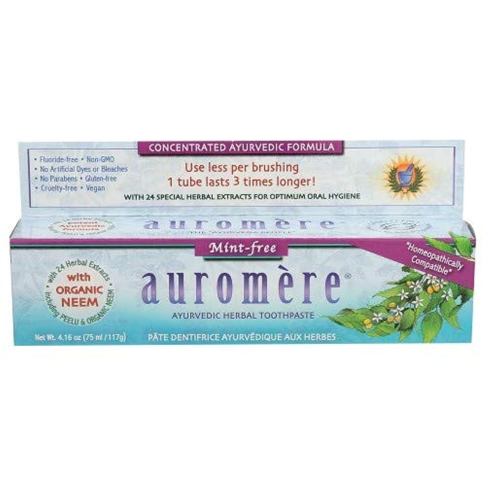 風邪をひく密輸物理2個セット オーロメア アーユルヴェーダ ハーバル歯磨き粉 ミントフリー 117g[海外直送品]