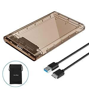ELUTENG HDD SSD 外付けドライブ 透明ケース 2.5インチ USB3.0 5Gbps高速データ転送 UASPも対応 SATA3.0接続 ハードディスクケース 9.5mm/7mm対応 工具不要 LEDインジケータ USB3 MicroBケーブル付属