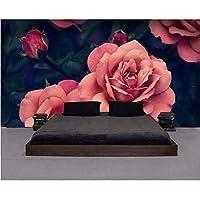 Wuyyii カスタム壁紙は美しい手描きのバラのテレビの背景の壁のリビングルームの寝室の背景の壁画3Dの壁紙 - 150X120Cm