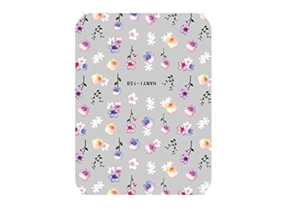 ストレッチ小説測るOsize ファッションカラフルな花ネイルアートステッカー水転送ネイルステッカーネイルアクセサリー(カラフル)