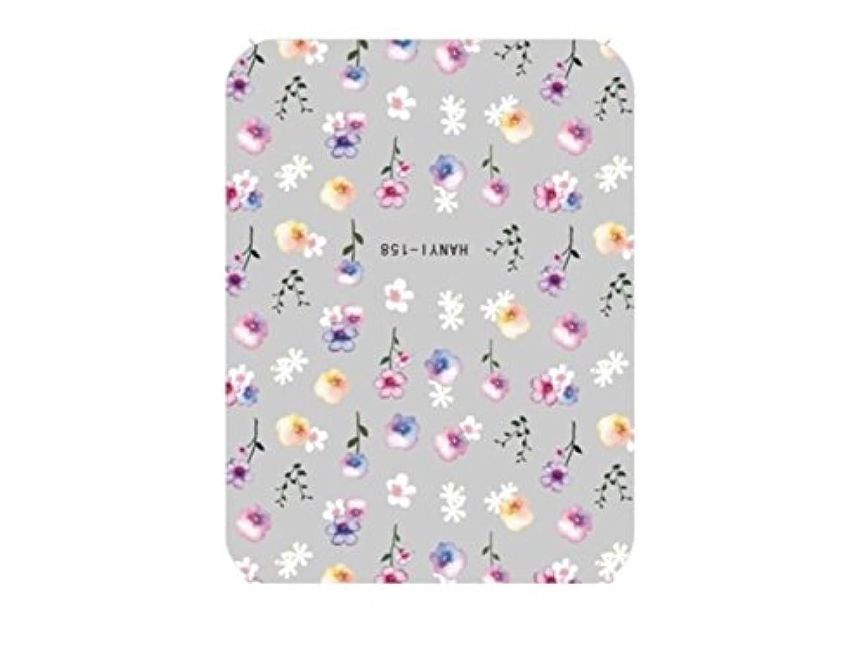 小康墓地サッカーOsize ファッションカラフルな花ネイルアートステッカー水転送ネイルステッカーネイルアクセサリー(カラフル)