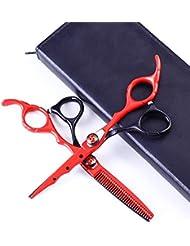 Jiaoran ヘアカットはさみキットプロフェッショナル6.0インチブラックシアーセットトリミング&カッティングステンレススチールヘアカットシアー (Color : Black+red)