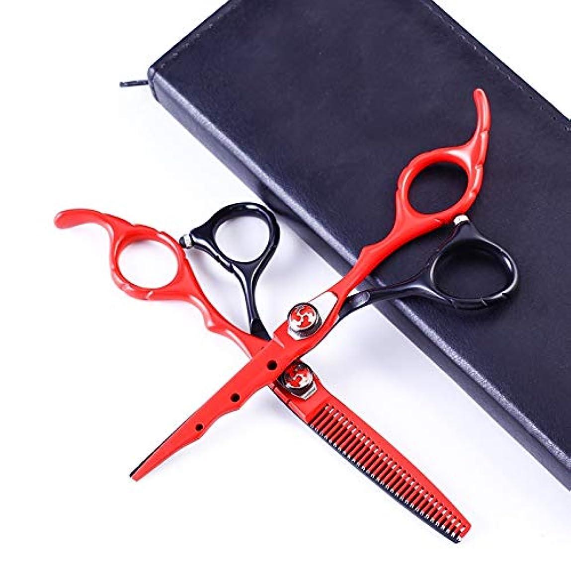 ノート羊チューインガムJiaoran ヘアカットはさみキットプロフェッショナル6.0インチブラックシアーセットトリミング&カッティングステンレススチールヘアカットシアー (Color : Black+red)