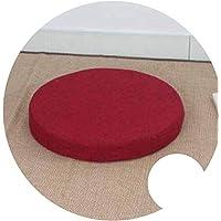 座布団 和風 ふとんクッション 修理座肥厚円フロア畳クッション,赤, H6cm