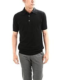 JOHN SMEDLEY (ジョンスメドレー) HADDON (ハードン) コットンカシミヤニット ポロシャツ BLACK (ブラック)