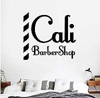 Mrlwyカリ理髪店の壁デカール名チョップパンデカール散髪シェーバービニール壁アートデカール装飾窓の装飾58×64センチ