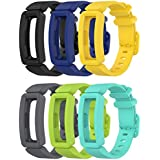 EEweca 6-Pack Bands Compatible with Fitbit Ace 2 Strap (Black, Night Sky, Neon Yellow, Gray, Green, Teal)