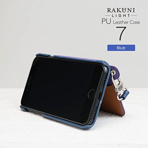 『RAKUNI Light PU Leather Case Book Type with Strap for iPhone 7 / iPhone 8 (ブルー) PUレザー スタンド機能 カードケース カバー ストラップホール付き RCB-7-BL』の2枚目の画像