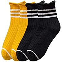 YMING Women's 4 Pairs Ankle Crew Socks Cotton Striped Short Socks