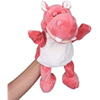 (ビグッド)Bigood ぬいぐるみ 手踊り 指人形 パペット 動物型 かわいい ベビー用品 おもちゃ 幼稚園 保育園 カバ ダークピンク