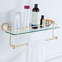 宇宙アルミ金のバスルームラックヨーロッパスタイルのタオルラックガラス化粧台/バスルーム