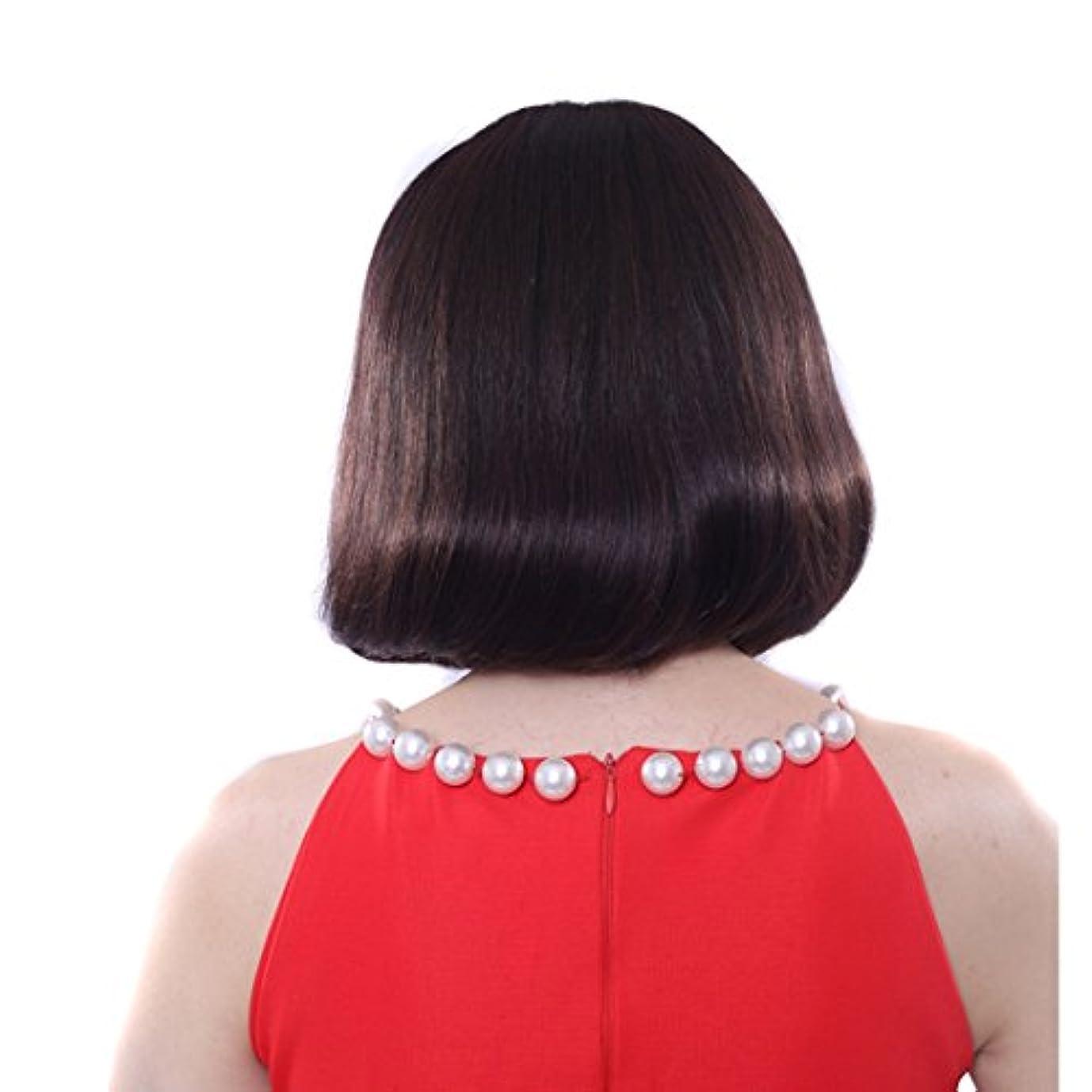 ブラシオートメーションアルファベットYOUQIU 現実的な人間の自然なかつらの内部梨髪シルクヘアボボヘッドウィッグカーリーフラット前髪ウィッグFuffyインナー梨髪の長さが26センチメートルウィッグ (色 : 黒)