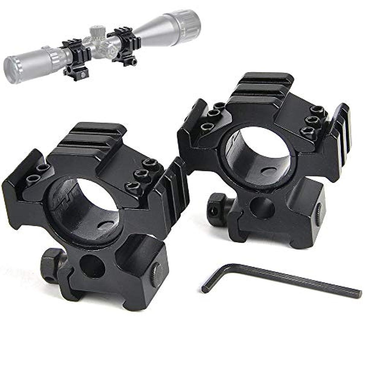 日没護衛逸脱UniqueFire 3面 フラットトップスコープ25.4㎜/ 30mmデュアルリングスコープマウント20mm対応ピカチニーウィーバーレールマウントベース 2個入り