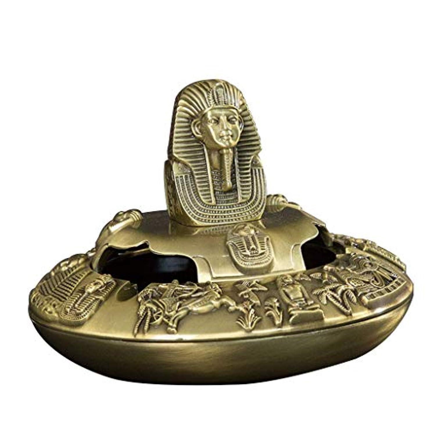 確率盆蓋付きのヴィンテージエジプトのファラオのタバコの灰皿携帯灰皿(ブロンズ)