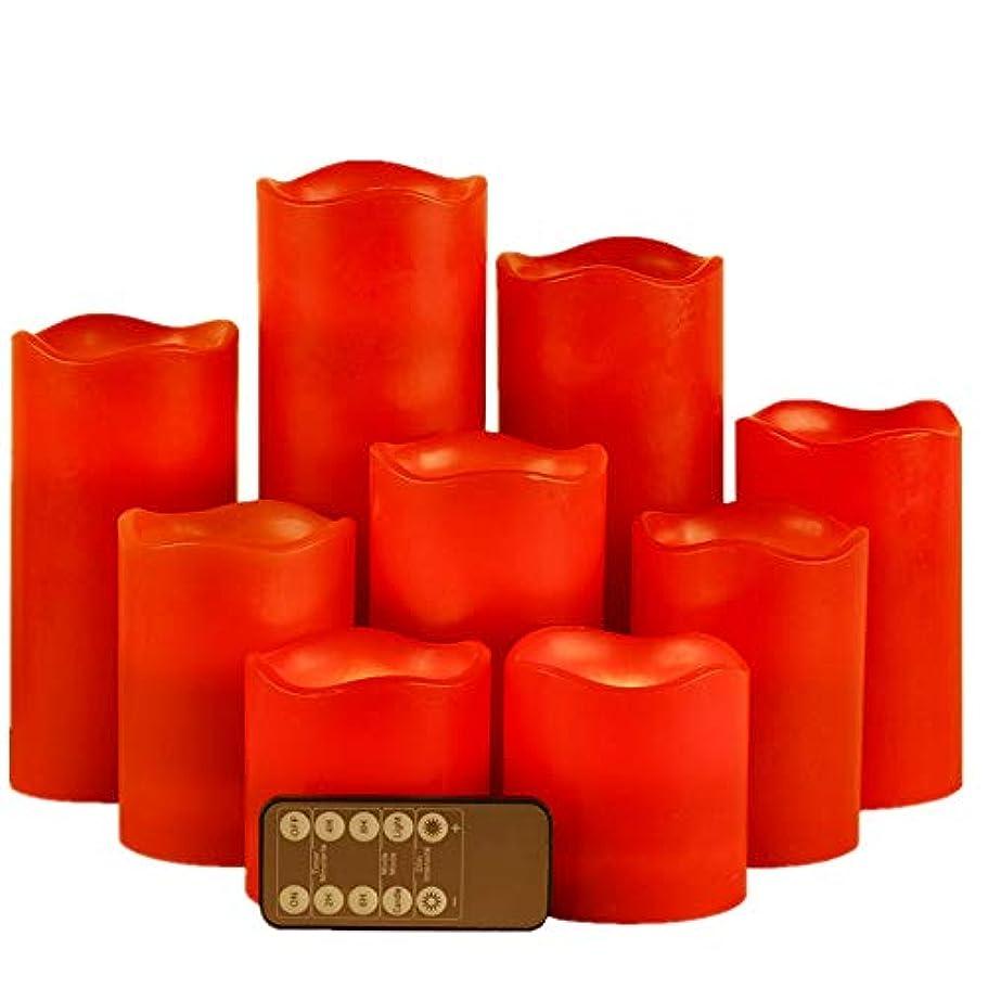 どっち鋼置き場赤い本物のろう 動く芯 炎の出ないLED灯明キャンドルライト 10キーリモコン付き 6個セット 直径3インチ