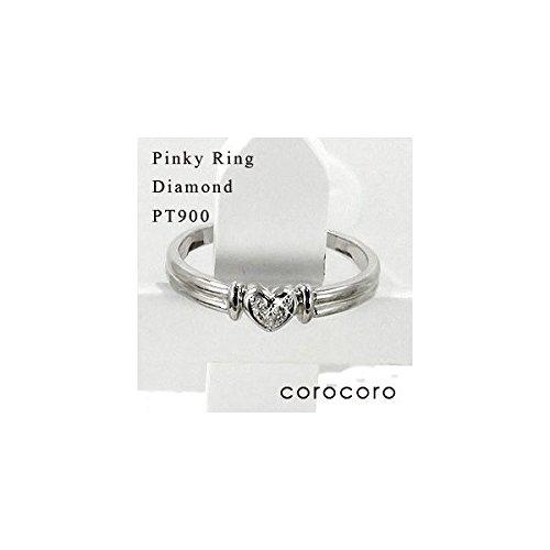 ハートモチーフピンキーリングダイヤモンド指輪PT900プラチナ 天然ダイヤモンドリング
