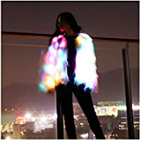 SHINYOU Girls Women Faux Fur Coat Adult LED Light Up Jacket Chirstmas Costume Gift Winter Coat