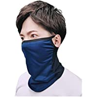 AthleX フェイスカバー ランニングマスク 息苦しくない UVカット 冷感 夏用 耳掛型 男女兼用 (ネイビー, 立体F)