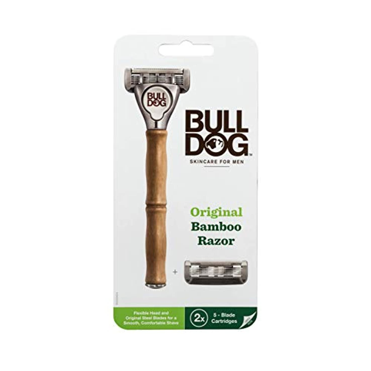 カレンダーストロー無謀Bulldog(ブルドッグ) ブルドッグ Bulldog 5枚刃 オリジナルバンブーホルダー 水に強い竹製ハンドル 替刃 2コ付 男性カミソリ ホルダー(1本)、替刃2コ付き(内1コ本体装着済み)